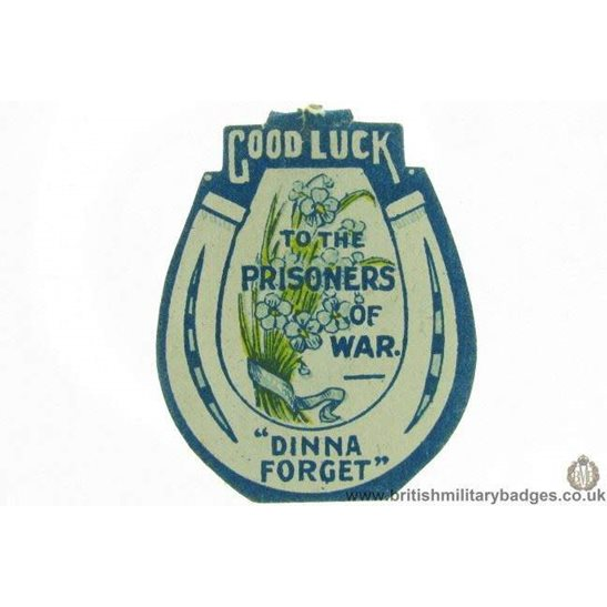 K1B/85 - WW1 Good Luck to Prisioners of War POW Fund Pin Badge