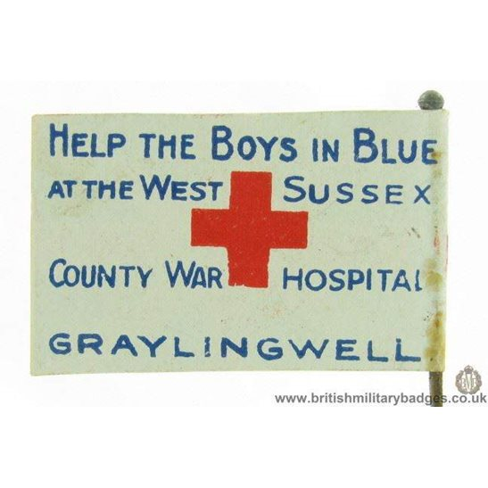 K1B/87 - WW1 West Sussex County War Hospital Flag Day Pin Badge