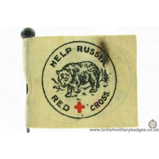K1C/14 WW1 Help Russia Red Cross Flag Day Fundraising Pin Badge