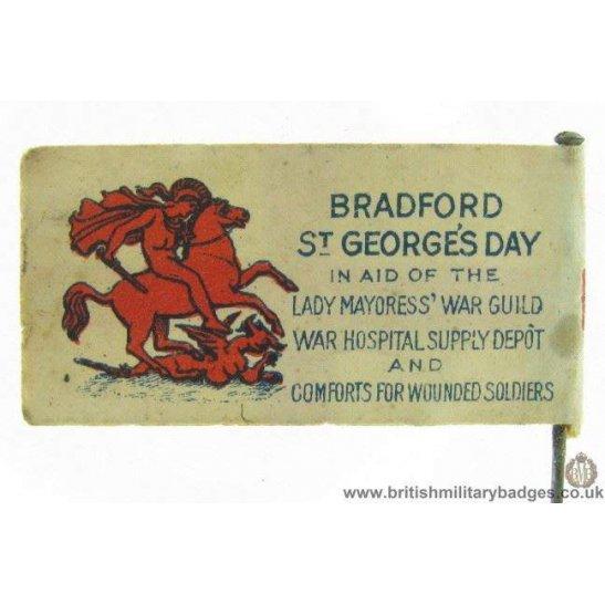 K1C/22 WW1 Bradford St. Georges Day War Hospital Flag Pin Badge