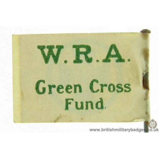 K1C/24 - WW1 WRA Green Cross Flag Day Fundraising Pin Badge