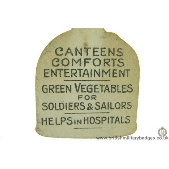 additional image for K1C/27  WW1 Vegetables for Soldiers & Sailors Flag Day Pin Badge