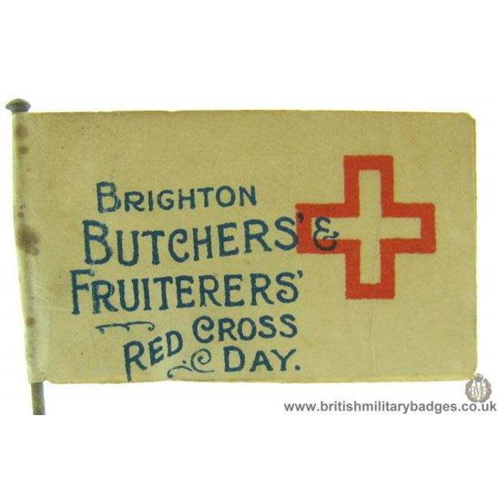 K1C/31 - WW1 Brighton Butchers & Fruiterers Red Cross Day Badge