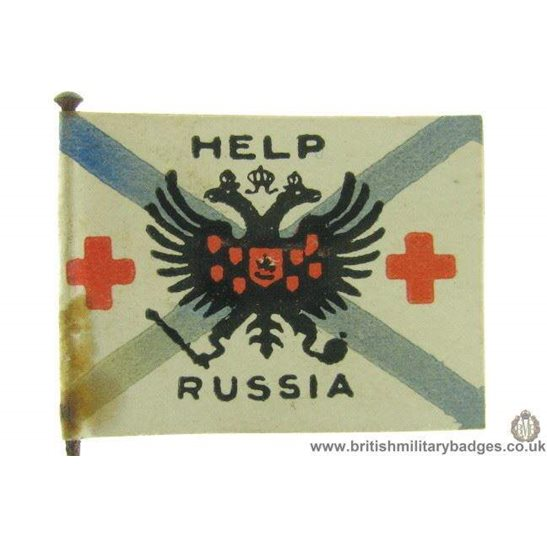 K1C/30  WW1 Help Russia Red Cross Flag Day Fundraising Pin Badge