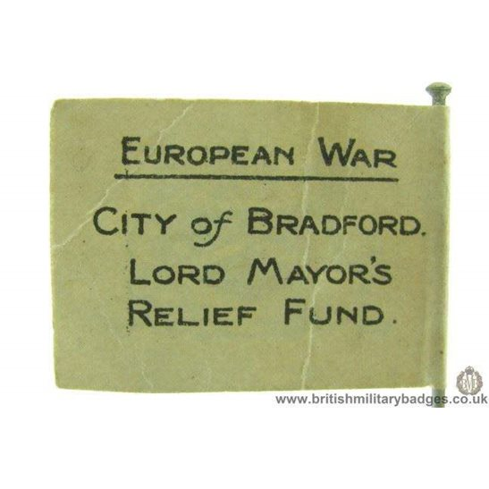 K1C/35 WW1 City of Bradford Lord Mayor's Fund Flag Day Pin Badge