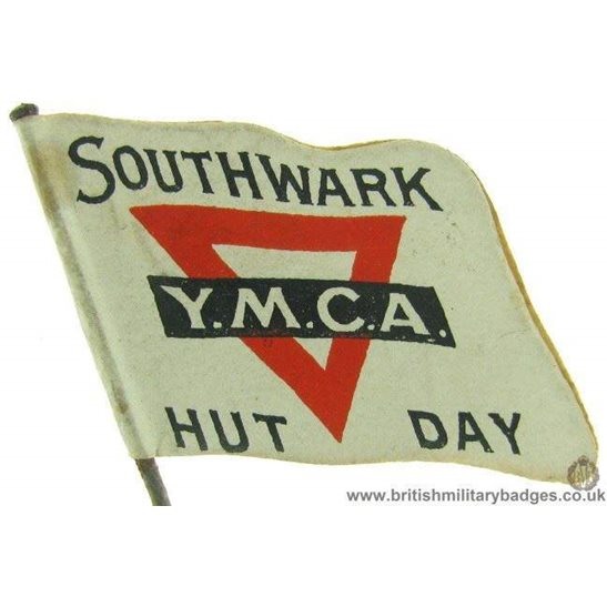 "K1C/47 - WW1 Southwark YMCA ""Hut Day"" Flag Day Fund Pin Badge"