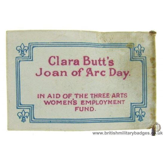 K1C/53 - WW1 Clara Butt's Joan of Arc Womens Day Pin Badge
