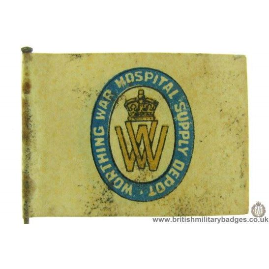 K1C/77 - WW1 Worthing War Hospital Supply Depot Flag Badge