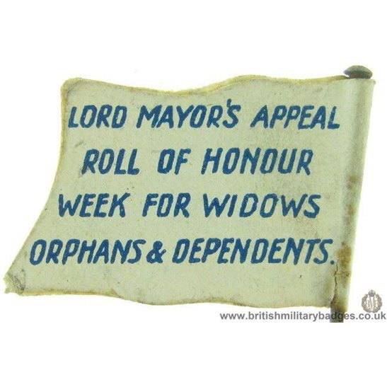 K1C/94 - WW1 Lord Mayor's Appeal for Orphans & Widows Flag Badge