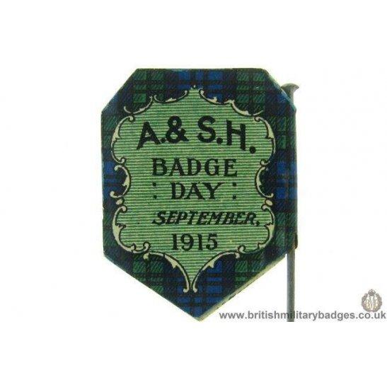 K1D/10 - WW1 Argyll & Sutherland Highlanders 1915 Flag Day Badge