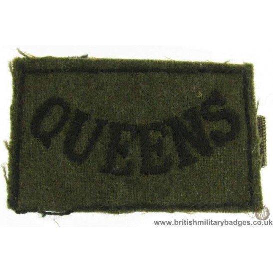 E1B/18 - WW2 Queens West Surrey Regiment Slip-On Shoulder Title