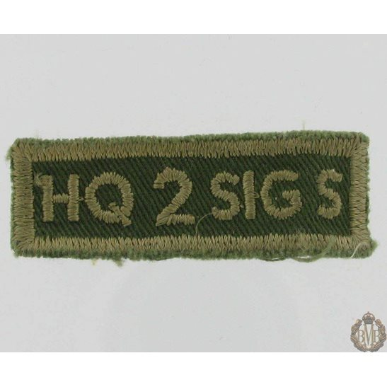 L55/352  Head Quarters 2nd Signals Corps Cloth Patch HQ 2 SIG S