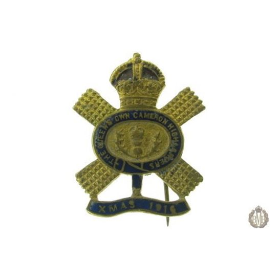 1D/004 - The Queen's Own Cameron Highlanders Xmas 1916 Badge
