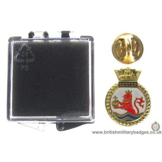 S1A/85 - HMS Exeter Royal Navy Veteran's Lapel Badge & Box