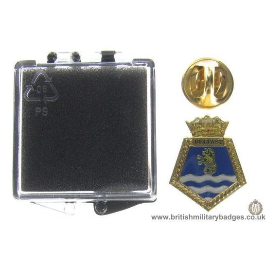 S1A/87 - HMS Belfast Royal Navy Veteran's Lapel Badge & Box