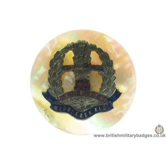 H1A/13: Middlesex Regiment Mother of Pearl Sweetheart Brooch