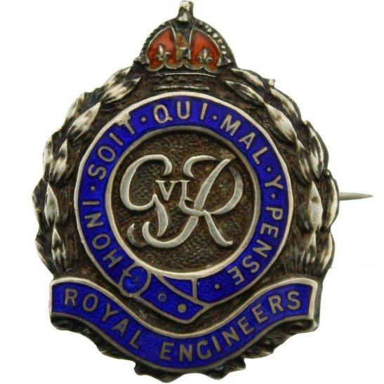 Royal Engineers WW2 Royal Engineers Corps (George VI) STERLING Silver Sweetheart Brooch
