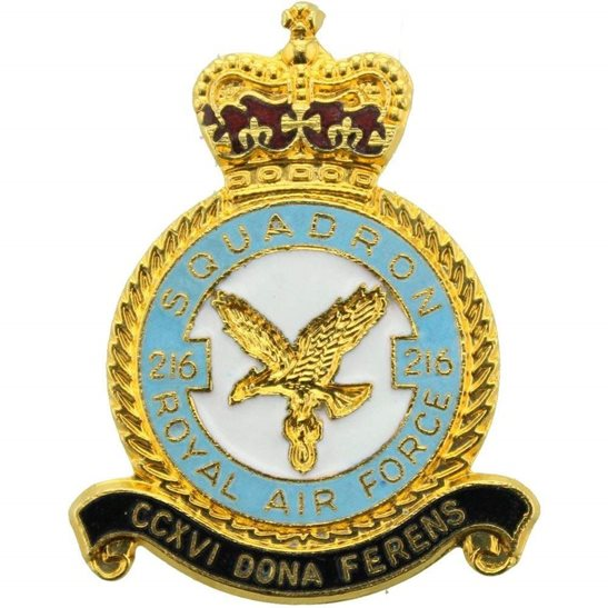 RAF Squadrons 216 Squadron Royal Air Force RAF Lapel Badge