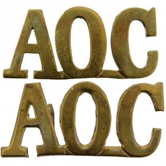 Army Ordnance Corps AOC WW1 Army Ordnance Corps AOC Shoulder Title PAIR