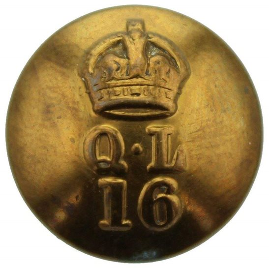 16th Lancers WW1 16th (The Queens Lancers) Regiment SMALL Tunic Button - 19mm