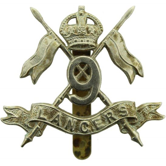 9th Queens Royal Lancers WW1 9th Queens Royal Lancers Regiment Cap Badge - MARPLES & BEASLEY Makers Mark