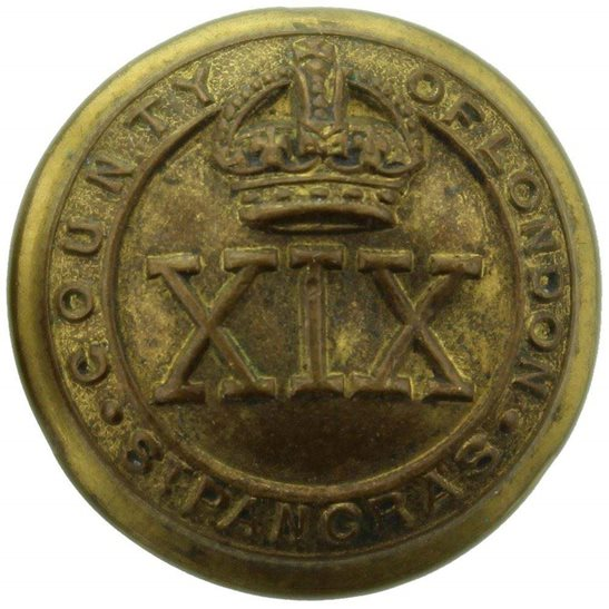 London Battalions WW1 19th St Pancras Battalion County of London Regiment SMALL Tunic Button - 19mm