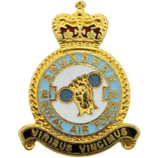 RAF Squadrons 21 Squadron Royal Air Force RAF Lapel Badge