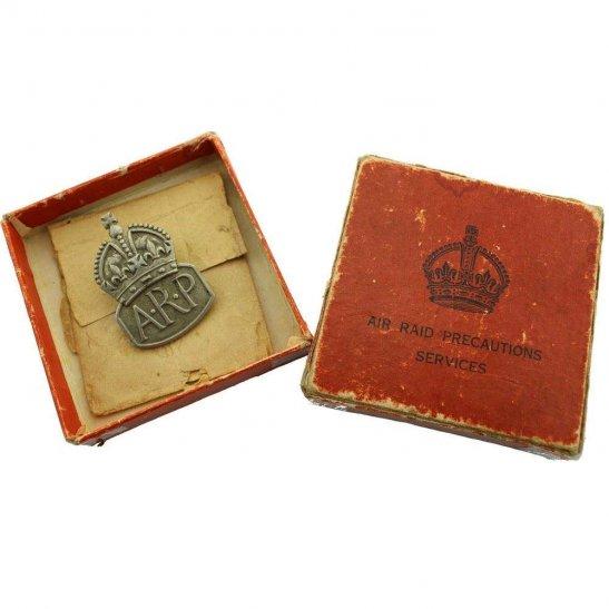 Air Raid Precautions ARP WW2 ARP Warden (Air Raid Precautions) Silver Lapel Badge & BOX - MENS
