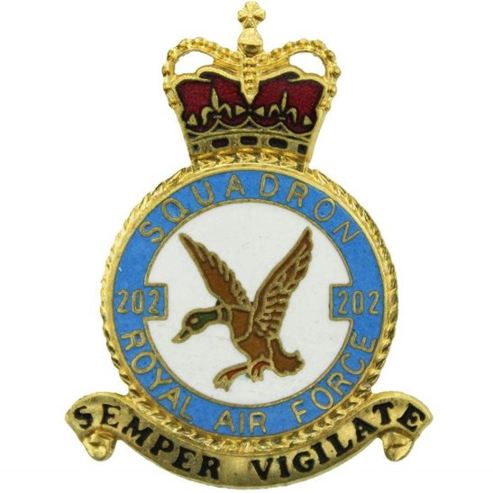 RAF Squadrons 202 Squadron Royal Air Force PLAQUE Badge RAF
