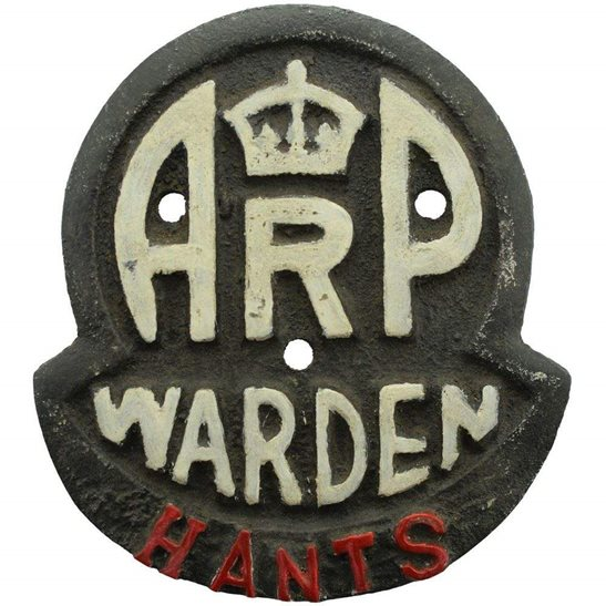 Air Raid Precautions ARP WW2 Air Raid Precautions Warden Hampshire ARP Post Metal Door Plaque Sign