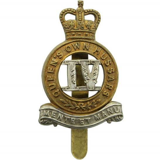 4th Hussars 4th Queens Own Hussars Regiment Queen's Cap Badge - Queens Crown