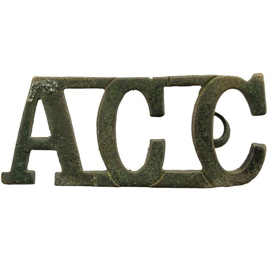 Army Catering Corps ACC UK Dug Detecting Find - WW1 Army Catering Corps ACC Relic Shoulder Title Badge