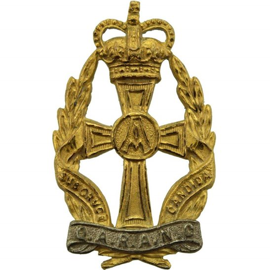 Queen Alexandras Nurses Queen Alexandras Royal Army Nursing Corps QARANC Alexandra's GILT Cap Badge - Queens Crown