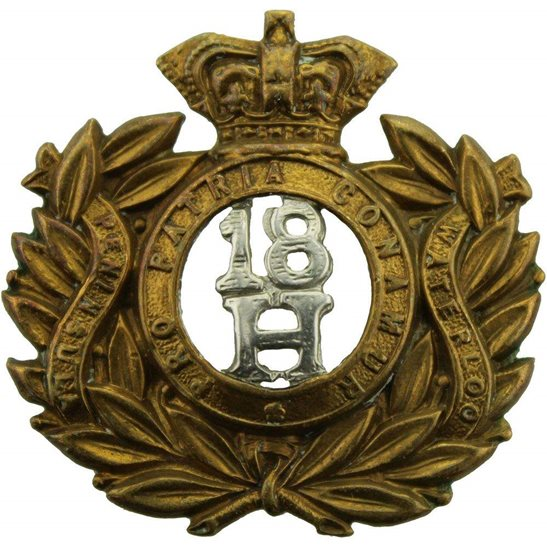 18th Hussars VICTORIAN 18th Hussars (Queen Mary's Own) Regiment Collar Badge