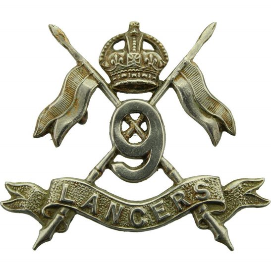 9th Queens Royal Lancers 9th Queens Royal Lancers Regiment Cap Badge - EARLY LUGS VERSION