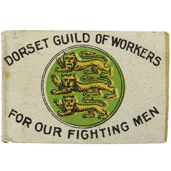 WW1 Dorset Guild of Workers FOR OUR FIGHTING MEN Flag Day Fund Pin Badge