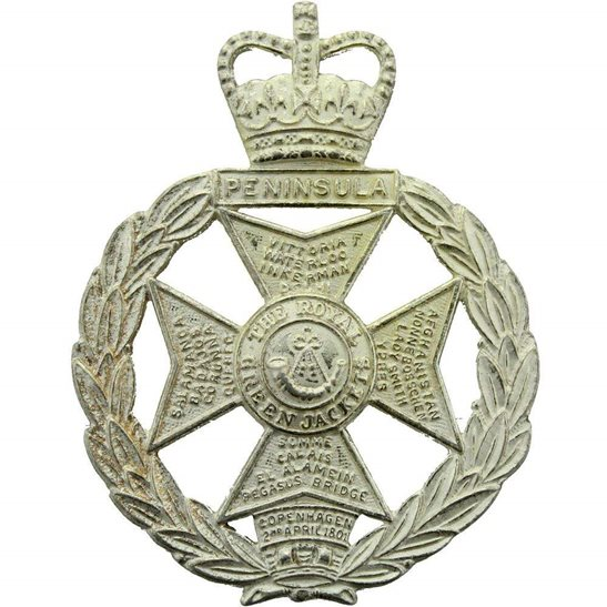 The Royal Green Jackets Regiment Brigade Cap Badge - Queens Crown