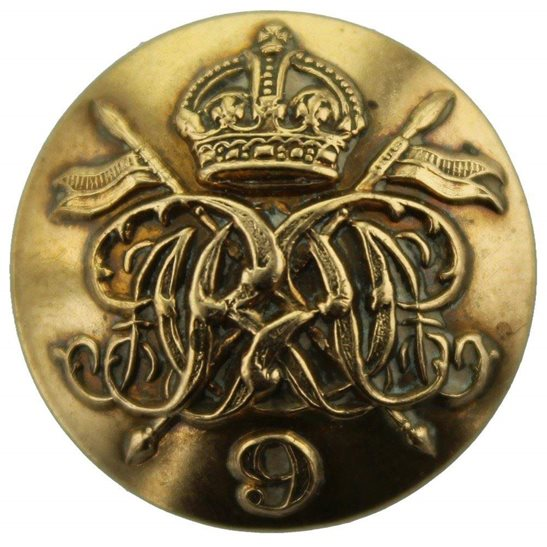 9th Queens Royal Lancers WW1 9th Queens Royal Lancers Regiment Tunic Button - 23mm