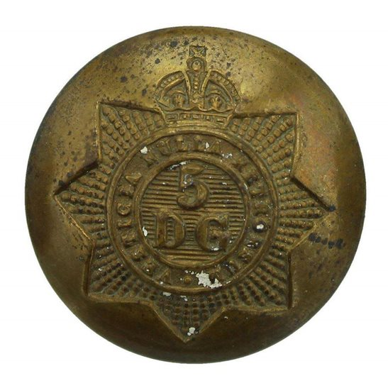 5th Dragoon Guards WW1 5th Royal Inniskilling Dragoon Guards Regiment Tunic Button - 26mm