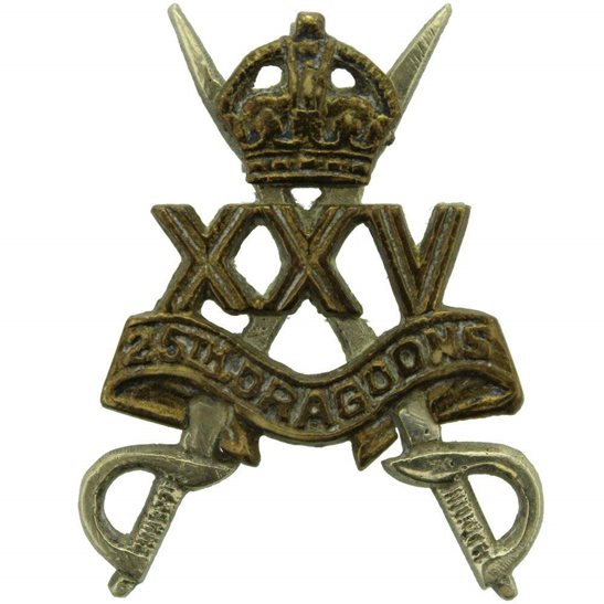 25th Dragoons WW2 RAISED 25th Dragoons Regiment Cap Badge