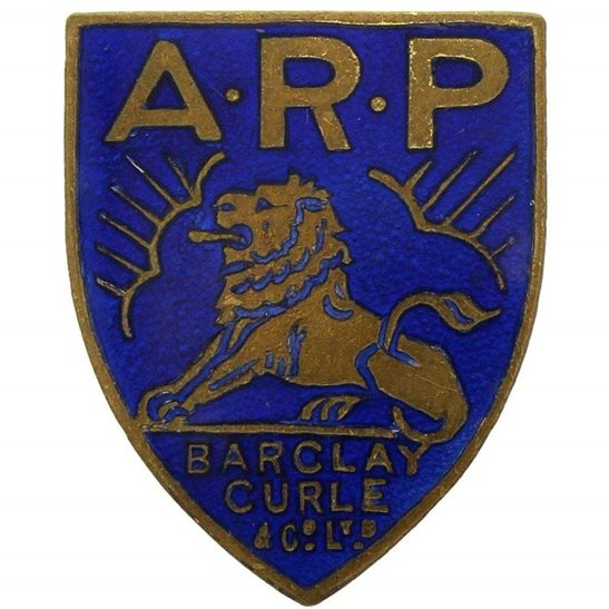 Air Raid Precautions ARP WW2 ARP Warden (Air Raid Precautions) Barclay Curle & Co Glasgow Lapel Badge - NOT LISTED