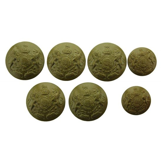 General Service WW2 British Army General Service PLASTIC Economy Issue Buttons Set x7 25mm & 18mm