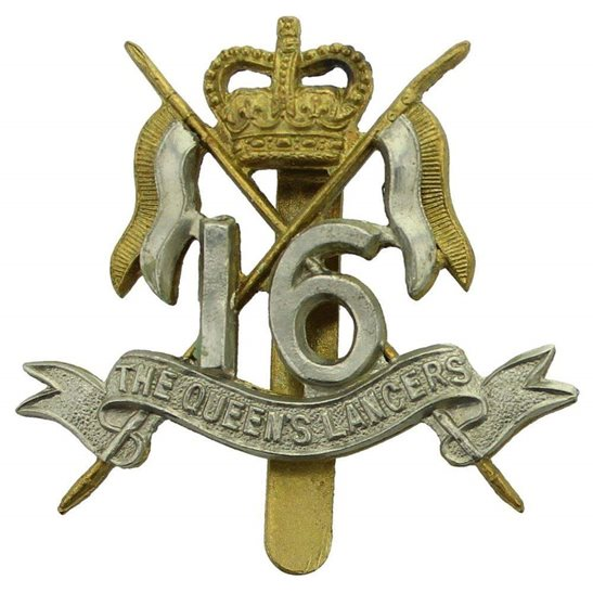 16th Lancers 16th (The Queens Lancers) Regiment Cap Badge MARPLES & BEASLEY - Queens Crown