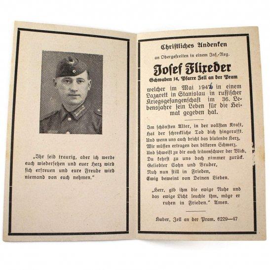 WW2 German Army WW2 German Army Soldiers Mourning Death Card