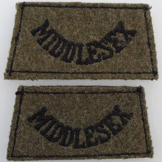 Middlesex Regiment WW2 Middlesex Regiment Cloth SLIP ON Shoulder Title Badge Flash PAIR