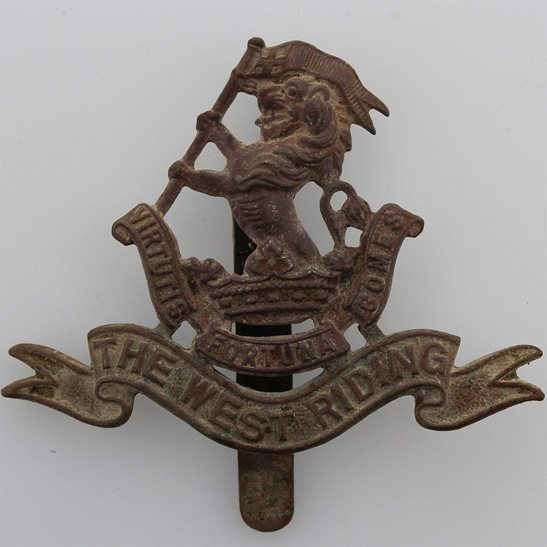 West Riding UK Dug Metal Detecting Find - WW1 West Riding Regiment Relic Cap Badge