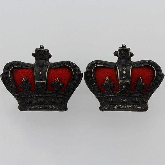 VICTORIAN Officers Insignia Queen Victoria Crown Pips PAIR - Rank of Major QVC