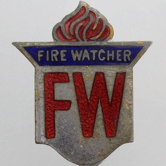 Auxiliary Fire Service WW2 Fire Watcher Air Raid Service Firewatcher Home Front Lapel Badge
