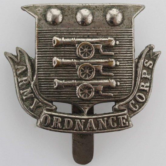 Army Ordnance Corps WW1 Army Ordnance Corps AOC Volunteers WHITE METAL Cap Badge