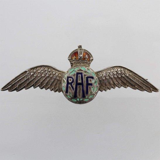 Royal Air Force RAF WW2 Royal Air Force RAF Wings SILVER Sweetheart Brooch - 55mm
